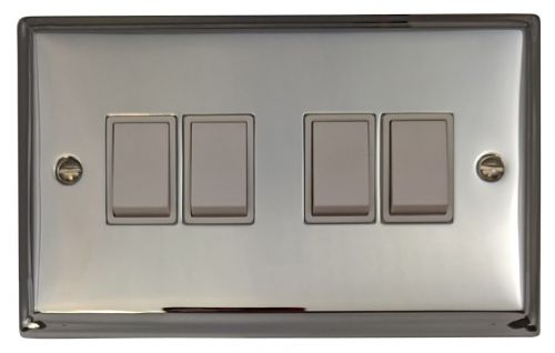 G&H DC4W Deco Plate Polished Chrome 4 Gang 1 or 2 Way Rocker Light Switch